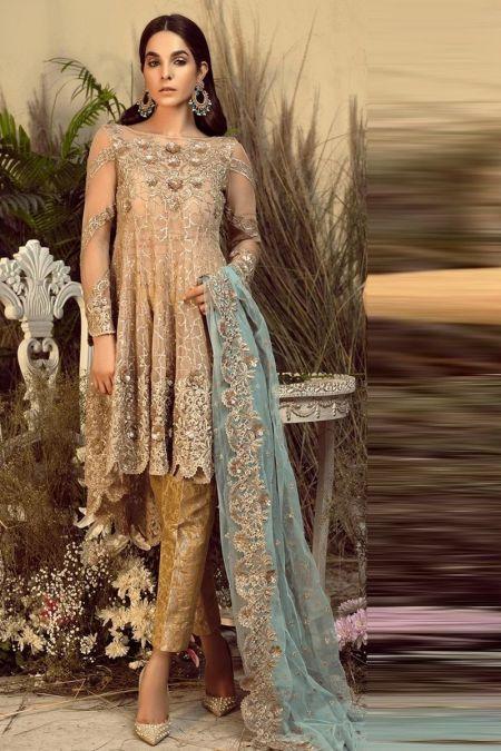 Imrozia custom stitch back tail frock style Wedding Dress chiffon collection Ginger Musk