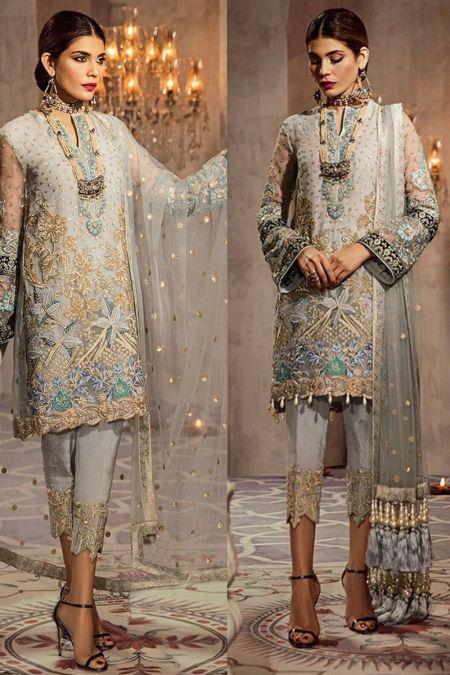 Anaya custom stitch salwar Kameez style Wedding Dress net collection grey