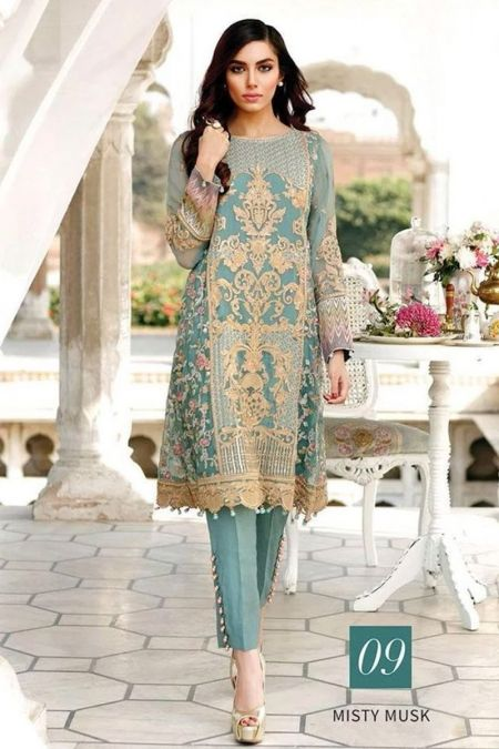 Jazmin custom stitch salwar Kameez style Wedding Dress chiffon collection Misty Musk