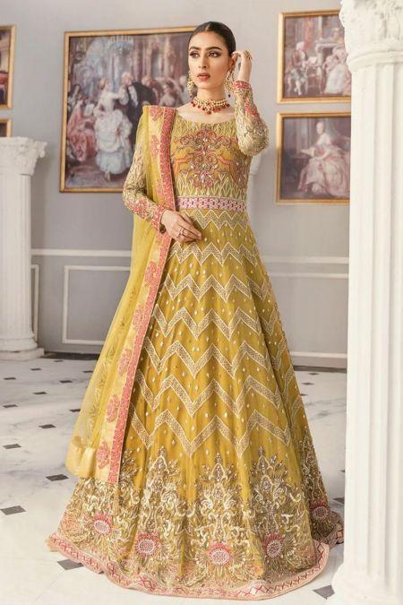 Akbar Aslam custom stitch Long Frock style Wedding Dress net collection Yellow