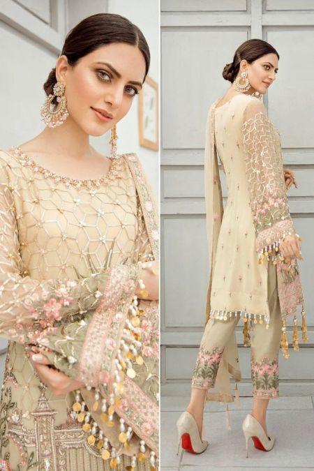 Akbar Aslam custom stitch salwar Kameez style Wedding Dress chiffon collection Carnation