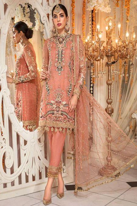Anaya custom stitch salwar Kameez style Wedding Dress net collection Nauratan