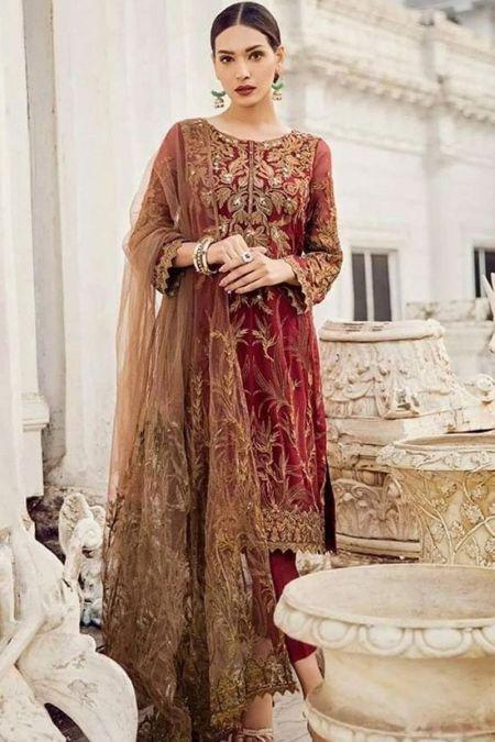 Iznik custom stitch salwar Kameez style Wedding Dress chiffon collection maroon