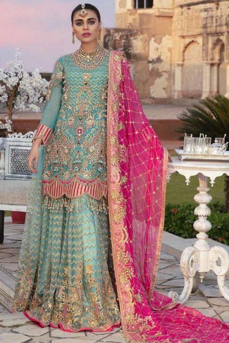 Emaan Adeel custom stitch sharara style Wedding Dress net collection blue