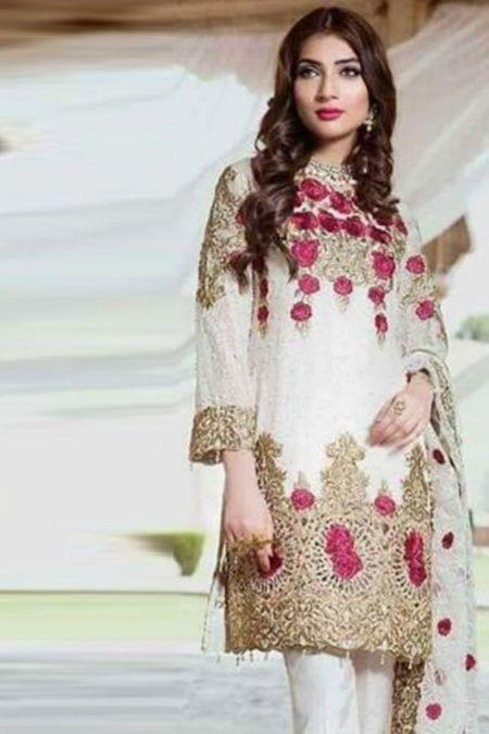Maria B custom stitch salwar Kameez style Wedding Dress chiffon collection White