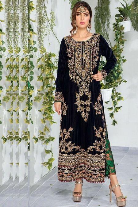 Aisha Imran custom stitch Salwar Kameez style Wedding Dress Velvet collection