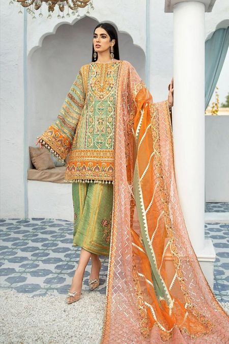 Maryam Hussain custom stitch salwar Kameez style Wedding Dress Organza collection Foliage Rustle