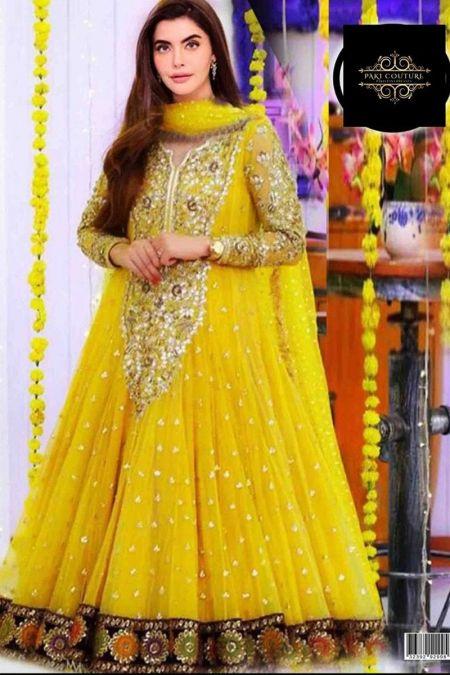 Kashee custom stitch Long Frock style Wedding Dress Net Collection Yellow