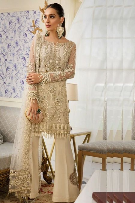 Gulal custom stitch salwar Kameez style Wedding Dress net collection Star Du Spectacle beige