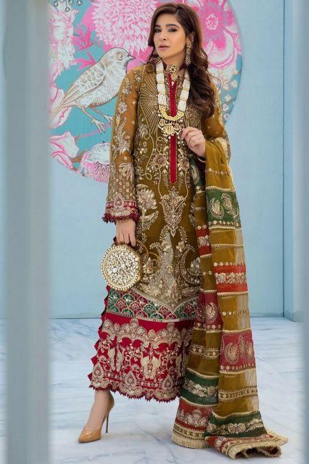 Maryam Hussain custom stitch salwar Kameez style Wedding Dress chiffon collection Mehendi Hina