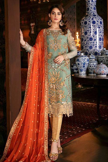 Imrozia custom stitch salwar Kameez style Wedding Dress chiffon collection Aqua Jewel