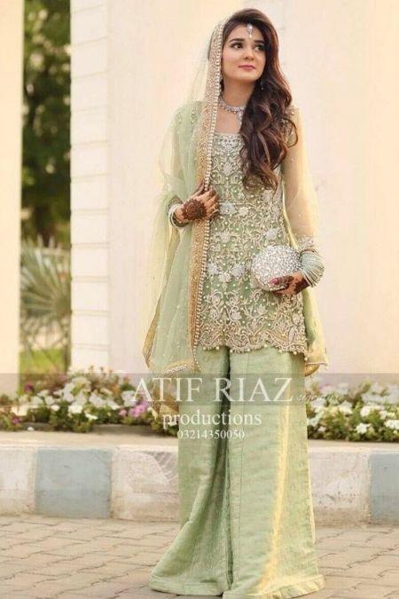 Atif Riaz custom stitch Flapper Kameez style Wedding Dress netcollection