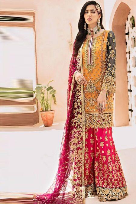 Emaan Adeel custom stitch Flapper Kameez style Wedding Dress chiffon collection