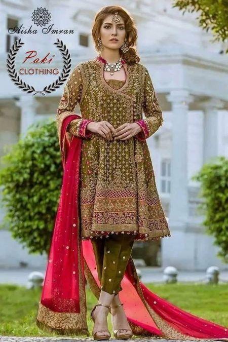 Aisha Imran custom stitch Angrakha style Wedding Dress chiffon Collection mehendi green