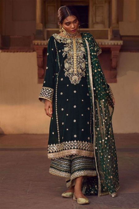 Maria B custom stitch Flapper Kameez style Wedding Dress Velvet collection