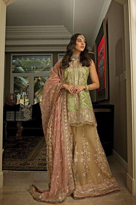 Sobia Nazir custom stitch Sharara Kameez style Wedding Dress net collection