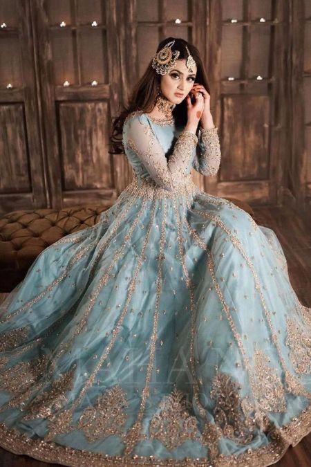 Aisha Imran custom stitch Long Maxi Frock style Wedding Dress Net Collection Aqua Blue