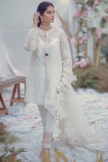 Zainab Salman  custom stitch Salwar Kameez style Wedding Dress White Organza Collection