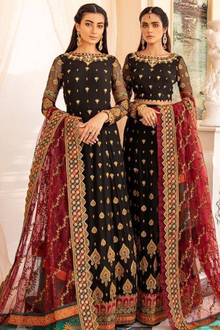 Iznik custom stitch Long Maxi Frock style Wedding Dress Black Chiffon Collection