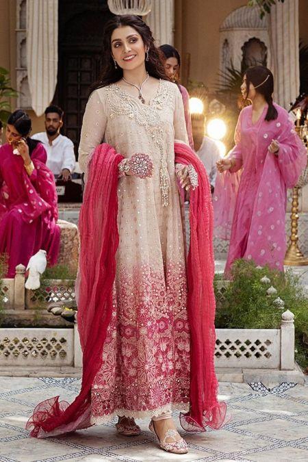 Mushq custom stitch Long Maxi Frock style Wedding Dress Mihr Festive Collection