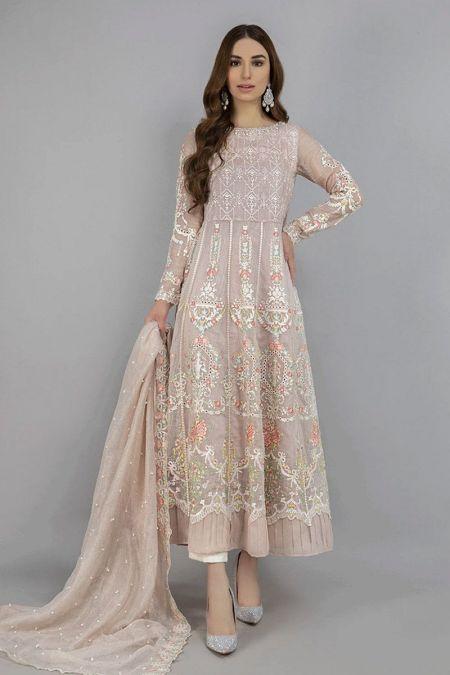 Maria B custom stitch Long Maxi style Wedding Dress MBROIDERED - Bronze (BD-2002)