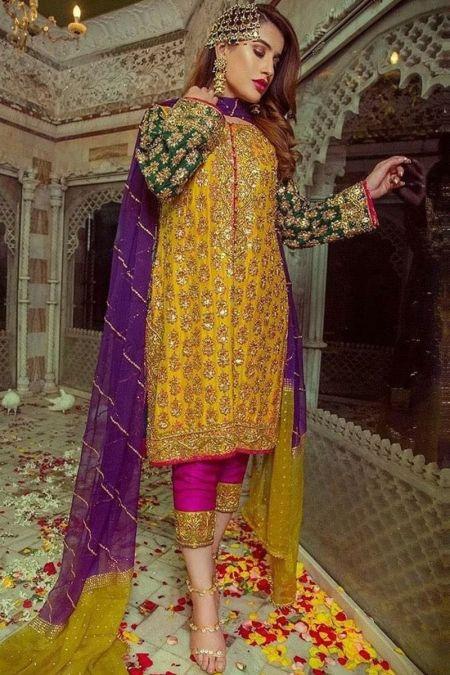 Aisha Imran custom stitch Salwar Kameez style Wedding Dress Mehendi Collection orange/Yellow
