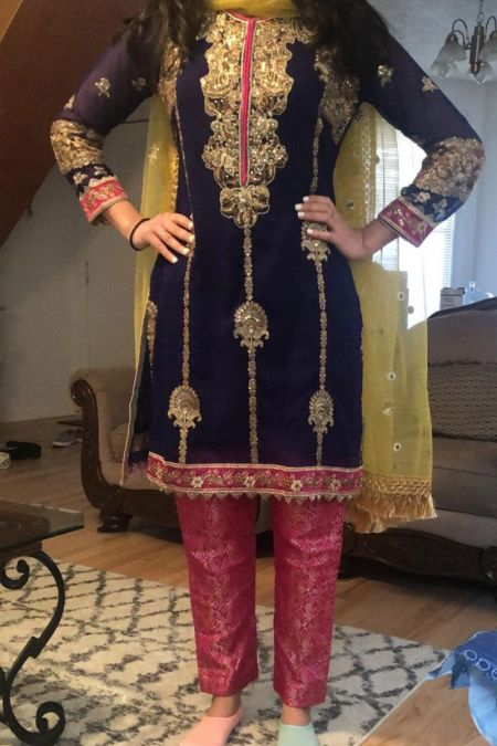 Bisma Khan custom stitch Salwar Kameez Style Wedding Dress Blue chiffon collection