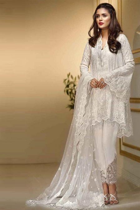 Anaya custom stitch Salwar Kameez Style Wedding Dress White chiffon collection