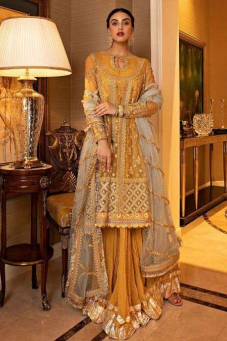 Sobia Nazir custom stitch Sharara Kameez style Wedding Dress Nur Festive Collection