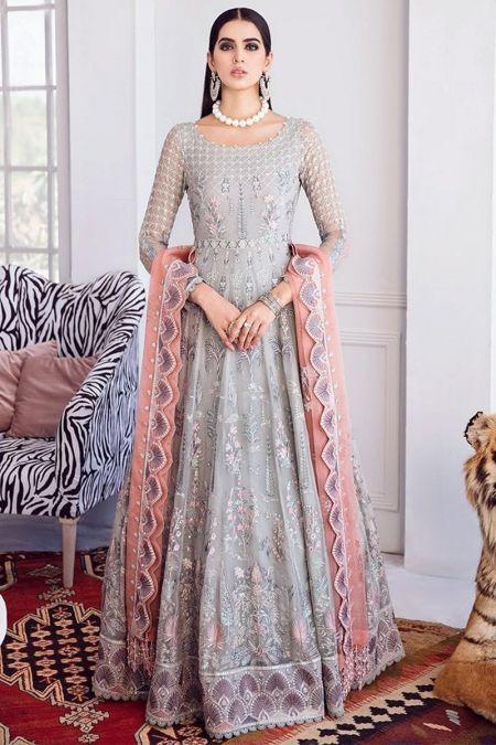 Afrozeh custom stitch Long Frock style Wedding Dress La Fuchsia SNOW GLASS