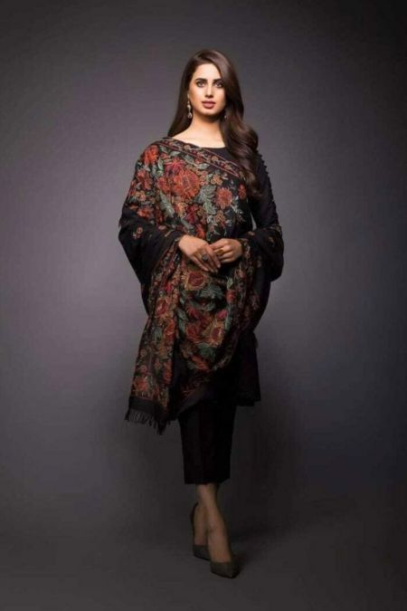 Bareeze Pakistani Velvet Shawl Indian Wedding Bridal Winter Scarf Heavy Embroidered