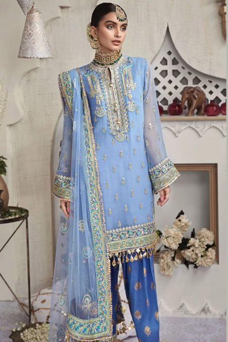Anaya custom stitch Salwar Kameez Style Wedding Dress Blue Farzeen